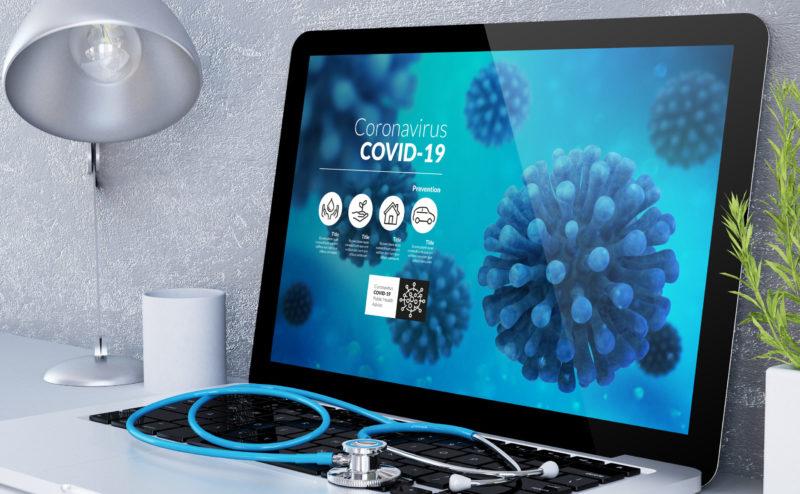 medical desktop computer coronavirus info on screen 3d rendering